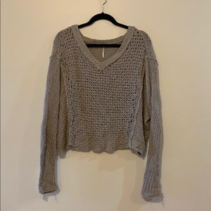 FREE PEOPLE oversized crop knit sweater
